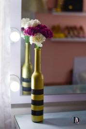 DIY Gold flower vase from wine bottle-2